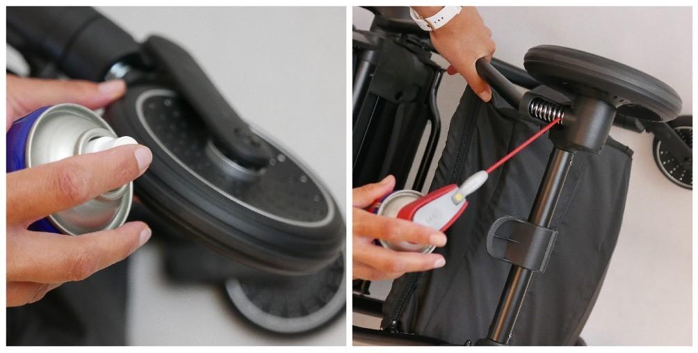 jak czyścić i konserwować koła w wózku dziecięcym