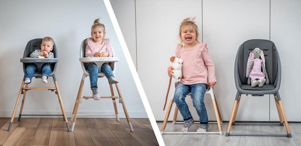 Produkty rosnące razem z dzieckiem - wielofunkcyjne krzesełko do karmienia 4w1 Espiro Sense